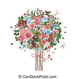 dekorativ, blomma, träd, fåglar