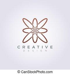 dekorativ, blomma, vektor, design, lyxvara, logo, fodra, ikon