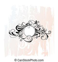 dekorativ, blommig, cirkel, prydnad