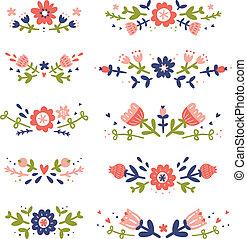 dekorativ, blommig, compositions, kollektion