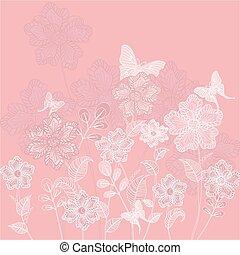 dekorativ, blommig, fjärilar, romantisk, bakgrund