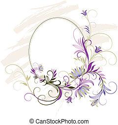 dekorativ, blommig, ram, prydnad