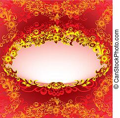dekorativ, blommig, ram, röd