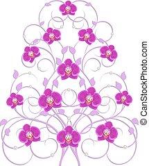 dekorativ, blomningen, träd, orkidé