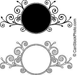dekorativ, blumen-, frames., vektor, abbildung
