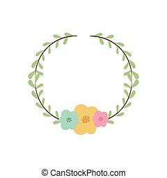 dekorativ, blumen-, krone, bunte, zweig