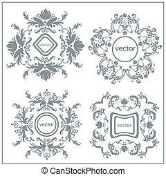 dekorativ, blumen-, logo, satz, verzierung