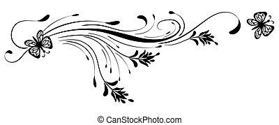 dekorativ, blumen-, papillon, weißes, verzierung, hintergrund