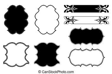 dekorativ, blumen-, vektor, satz, frame.
