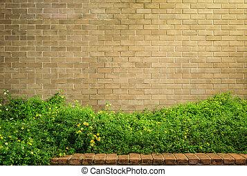 Dekorativ, Brauner, Ziegelmauer, Mit, Gras