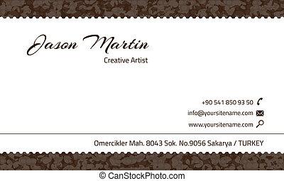 dekorativ, brun, affärskort