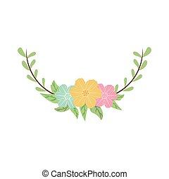 dekorativ, bunte, krone, zweig, hälfte, blumen-