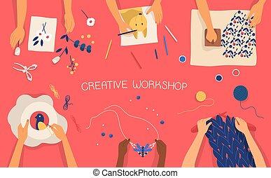 dekorativ, bunte, machen, strickzeug, embroidering, -, work., vektor, banner, craftwork, horizontal, weberei, children., werkstatt, zeichnung, stempeln, wohnung, hände, kreativ, illustration., scrapbooking