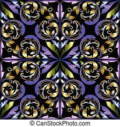 dekorativ, damast, årgång, pattern., seamless, elegans, vektor, orna