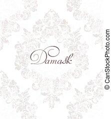 dekorativ, decors, blomma, damast, färg, årgång, kunglig, viktorian, smyckat, vector., lätt, mönster, texture., design.