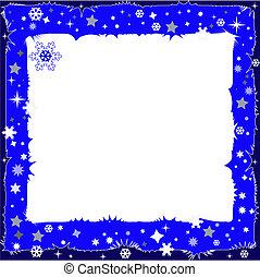 dekorativ, dunkel blau, rahmen