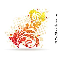 dekorativ, elemente, design, herbstlich, bunte