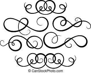 dekorativ, elements., calligraphic