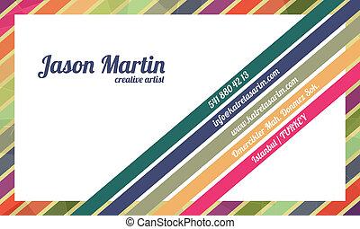 dekorativ, färgrik, affärskort