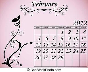 dekorativ, februari, sätta, 2, kalender, fanfar, 2012