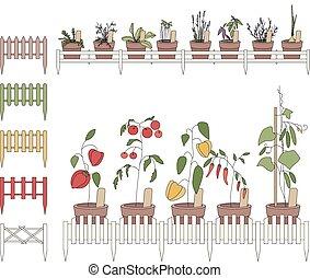 dekorativ, fence., blume topft, flowers., kultiviert