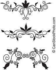 dekorativ, floral entwurf, elemente