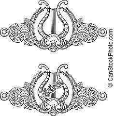 dekorativ, forntida, lyra, elements.