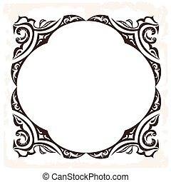 dekorativ, frame., weinlese, vektor, retro, hintergrund