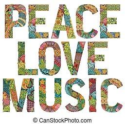 dekorativ, fred, kärlek, objekt, vektor, ord, zentangle, music.