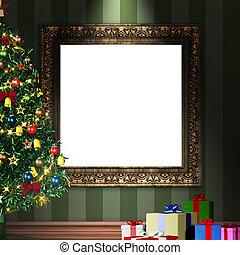 dekorativ, gåva, årgång, ram, träd, uppe, packen, jul, driva med, 3