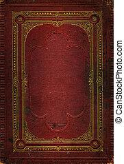 dekorativ, gammal, guld, läder, ram, struktur, röd