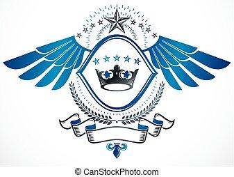 dekorativ, gelassen, emblem, weinlese, ritterwappen, krone, stars., fünfeckig, vector., monarch, gebrauchend