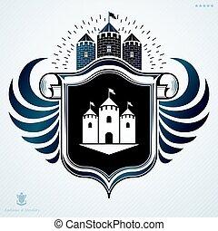 dekorativ, gemacht, elemente, weinlese, ritterwappen, zeichen, vektor, majestätisch, emblem.