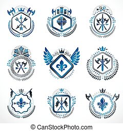dekorativ, gemacht, mittelalterlich, kreuze, weinlese, ritterwappen, königlicher einzug, illustrationen, symbole, embleme, kronen, tier, waffenkammer, religiöses, style., castles.