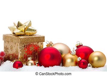 dekorativ, glas, schnee, verzierungen, weihnachten