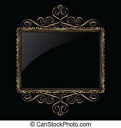 dekorativ, gold, und, schwarz, rahmen