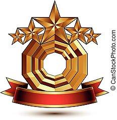 dekorativ, goldenes, geschenkband, klassisch, blazon., symbol, königlich, freigestellt, vektor, hochentwickelt, elegant, wellig, fünf, hintergrund., sternen, glänzend, weißes, element, rotes , 3d