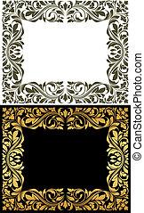 dekorativ, goldenes, rahmen, elemente, blumen-