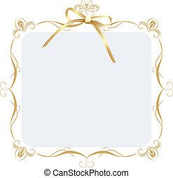 dekorativ, goldenes, rahmen, schleife