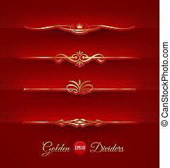 dekorativ, goldenes, teiler, satz