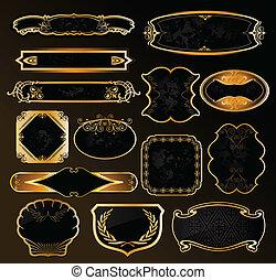 dekorativ, gyllene, etiketter, svart, vektor