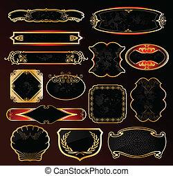 dekorativ, gyllene, etiketter, vektor, svart, inramar