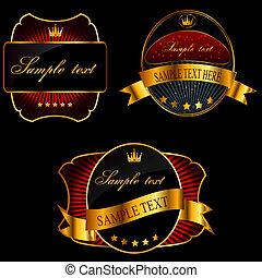 dekorativ, gyllene, mörk, vektor, bakgrund, utsirad, inramar