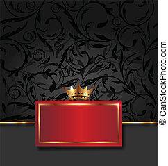 dekorativ, gyllene, ram, krona, utsirad