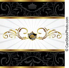 dekorativ, gyllene, ram, utsirad