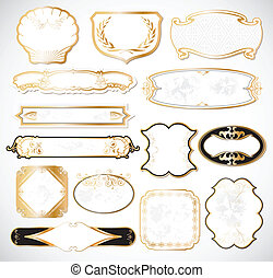 dekorativ, gyllene, vit, etiketter, vektor