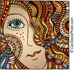 dekorativ, haar, vektor, m�dchen, karikatur, rotes