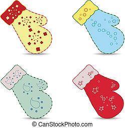 dekorativ, handschuhe, weihnachten