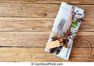 h lzern aufgewickelt serviette besteck tisch gabel rustic winkel schnur raum feuer. Black Bedroom Furniture Sets. Home Design Ideas