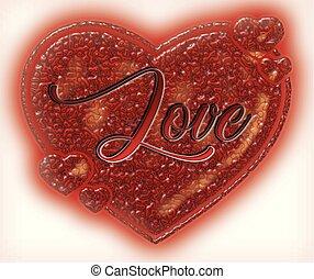 Dekorativ, Herz, Text, Love, Vektor - dekorativ, herz, text,...